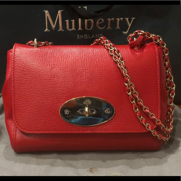 5a20ca6d6085 Bright Red Glossy Goat Small Lily. NWT. Mulberry